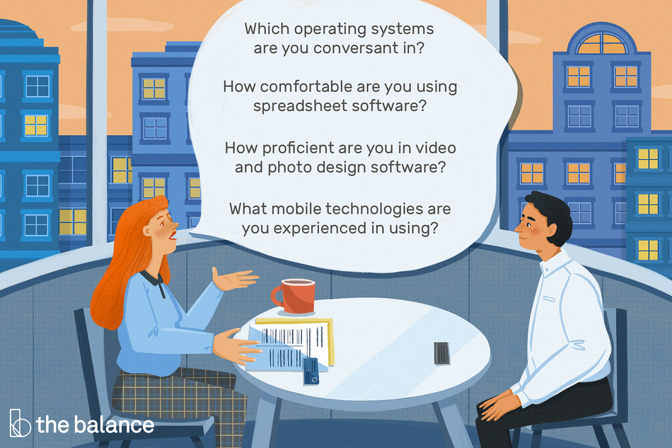 """This illustration includes computer skills interview questions such as """"Which operating systems are you conversant in?,"""" How comfortable are you using spreadsheet software?,"""" """"How proficient are you in video and photo design software?,"""" and """"What mobile technologies are you experienced in using?"""""""
