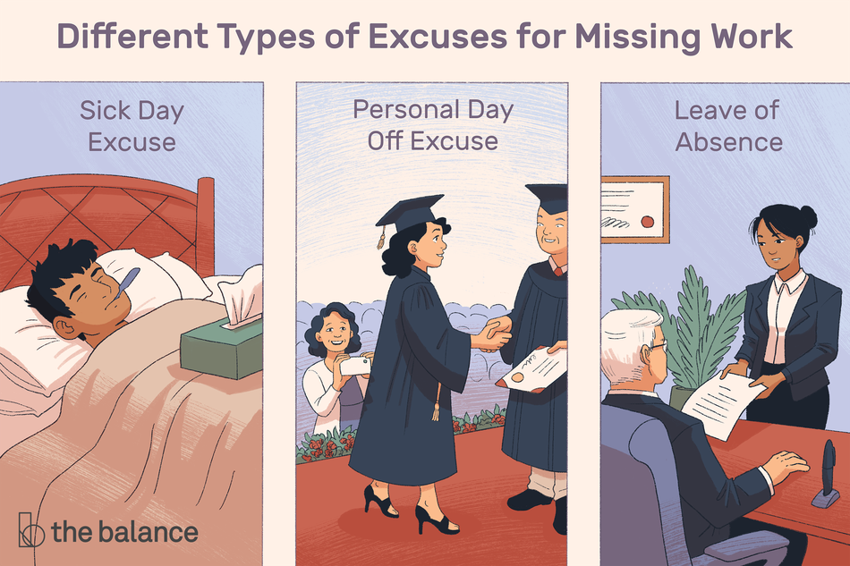 "This illustration shows different types of excuses for missing work including ""Sick Day Excuse,"" ""Personal Day Off Excuse,"" and ""Leave of Absence."""