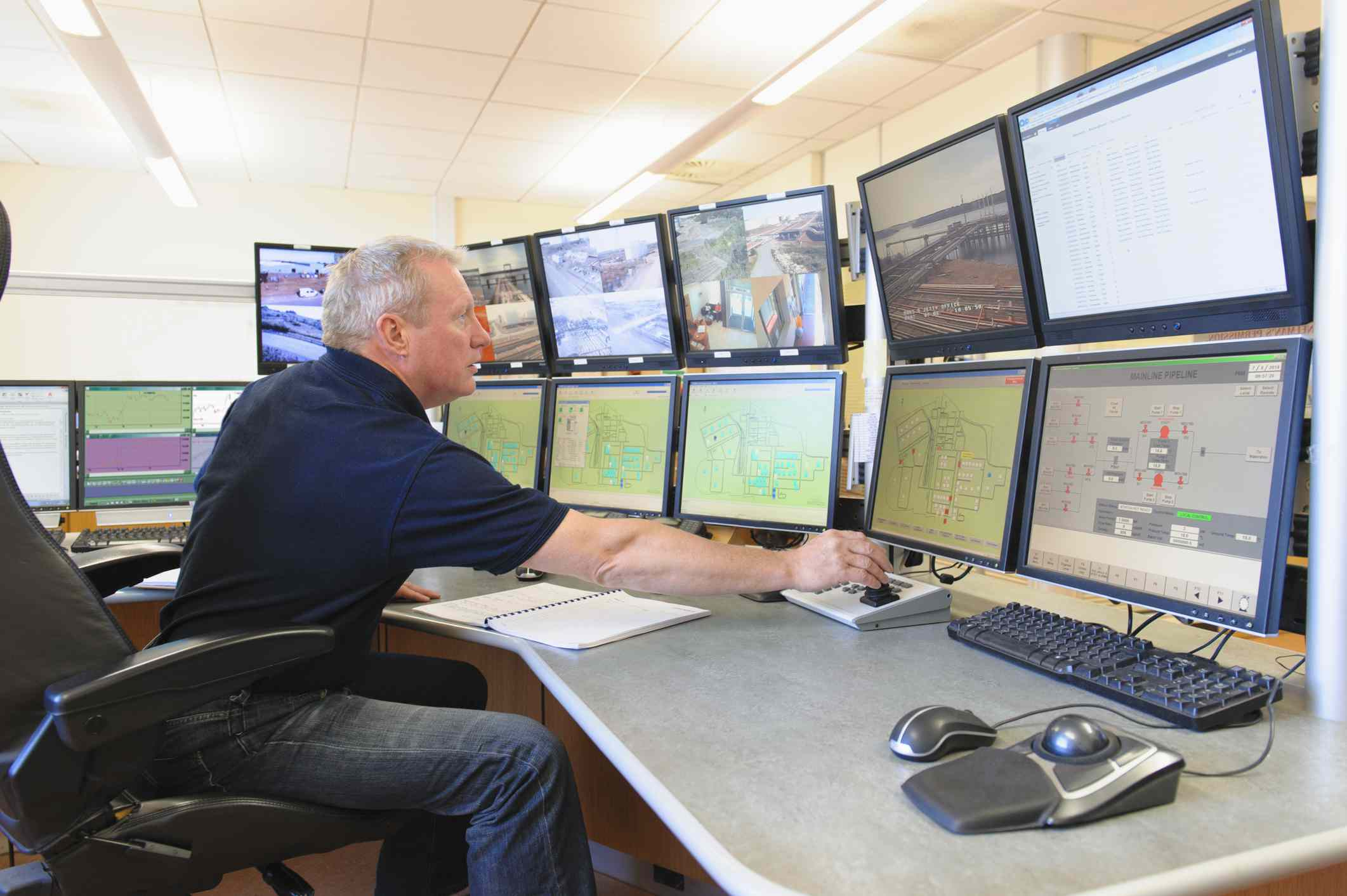Security engineer reviewing many computer camera