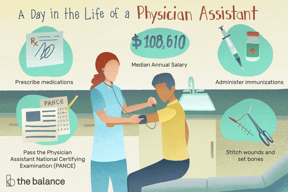 "Image is a physician assistant taking the blood pressure of a patient.Text reads: ""A day in the life of a physician assistant. Prescribe medications, Pass the Physician Assistant National Certifying Examination (PANCE), Median annual salary: $108,610, administer immunizations, stitch wounds and set bones"""