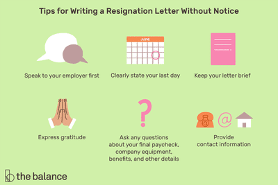 This illustration offers tips for writing a resignation letter without notice including
