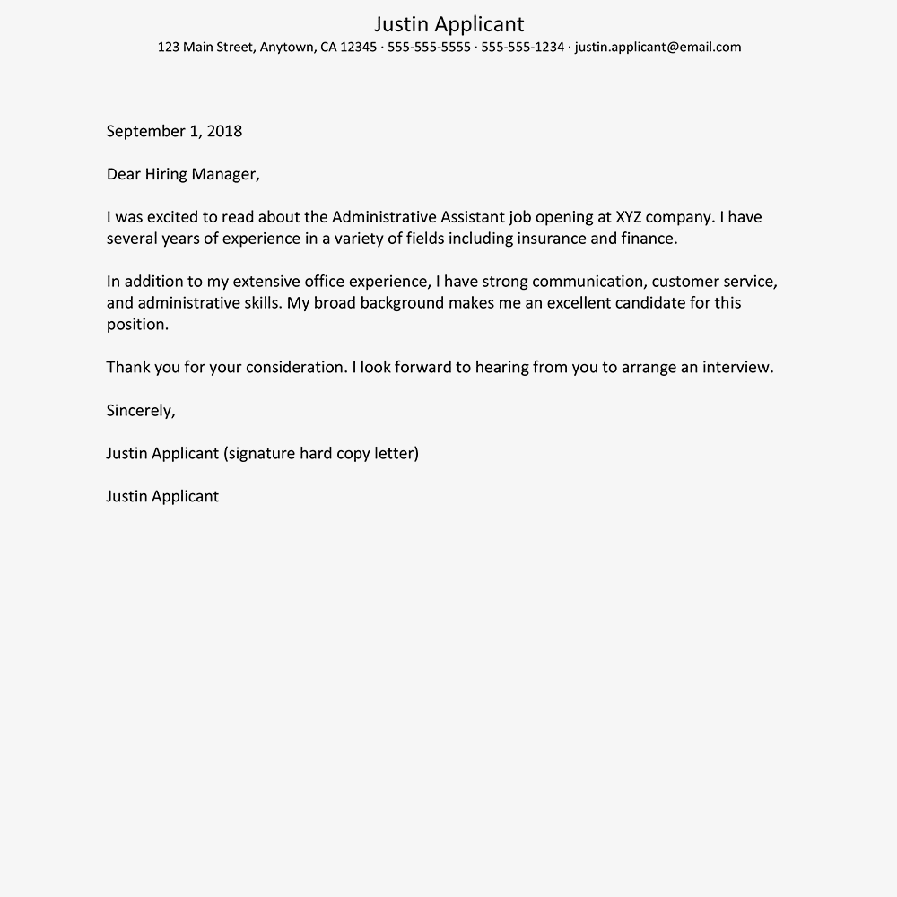 screenshot of a sample cover letter for business and administration