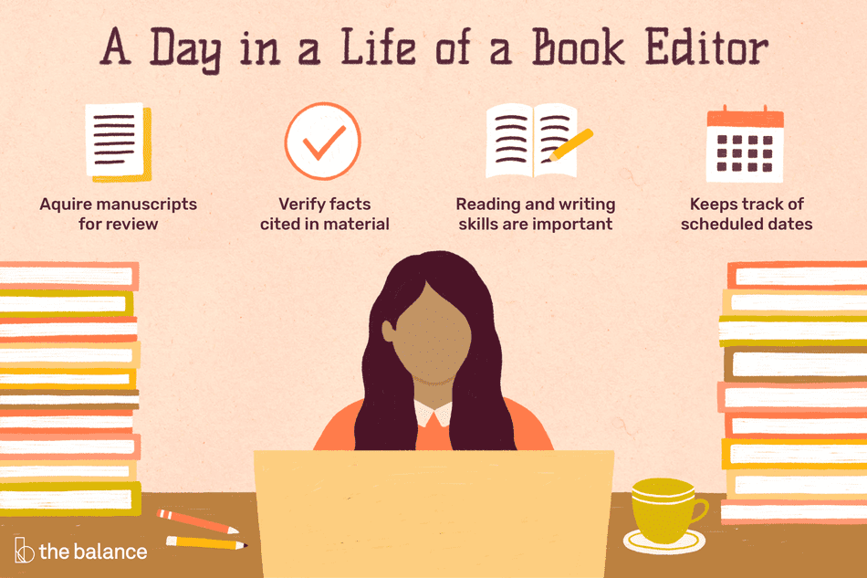 A day in the life of a book editor: acquire manuscripts for review, verify facts cited in material, reading and writing skills are important, keeps track of scheduled dates