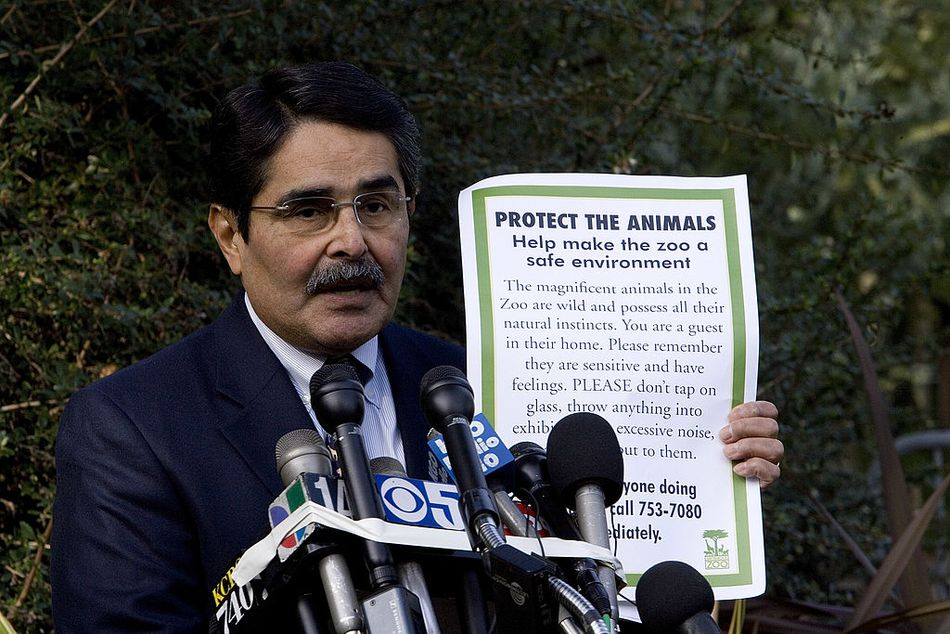 Manuel Mollinedo, director of the San Francisco Zoo, holding a news conference about a fatal tiger mauling at the zoo.