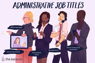 This illustration shows various administrative job titles including