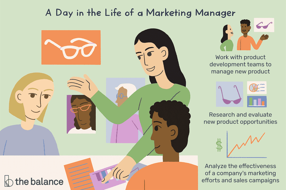 A day in the life of a marketing manage: Work with product development teams to manage new product, research and evaluate new product opportunities analyze the effectiveness of a company's marketing efforts and sales campaigns