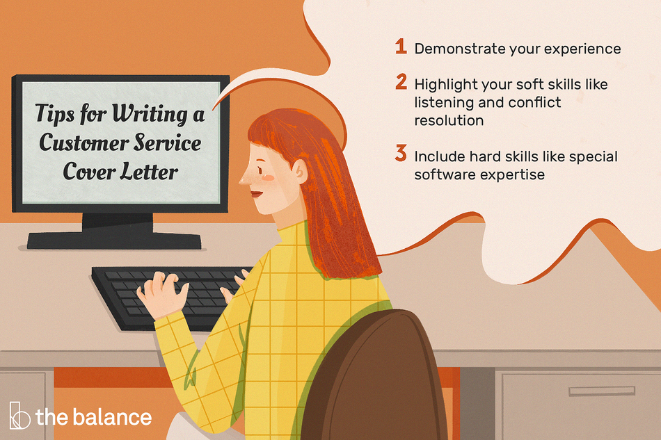 "This illustration includes tips for writing a customer service cover letter including ""Demonstrate your experience,"" ""Highlight your soft skills like listening and conflict resolution,"" and ""Include hard skills like special software expertise."""
