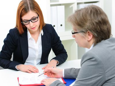 Young female job applicant having an interview