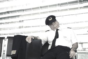 Airline pilot sleeping