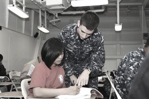 Military recruits taking tests