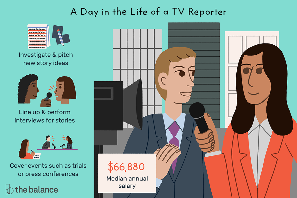 "Image shows a female reporting interviewing a man, both dressed in professional business garb. Text reads: ""A day in the life of a TV reporter, investigate and pitch new story ideas, line up and perform interviews for stories, cover events such as trials or press conferences, median annual salary: $66,880"""