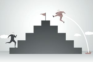 Illustration of one person running up stairs to the top and another hopping to the top
