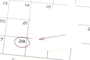 Date circled in red on a calendar
