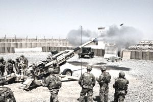 Paratroopers with A Battery, 4th Battalion, 319th Airborne Field Artillery Regiment, 173rd Airborne Brigade Combat Team, fire an M777A2 cannon during a firing demonstration for visiting Command Sgt. Maj. William Johnson, the command sergeant major for ISAF Joint Command, July 12. The Sky soldiers of the 173rd are on their 4th deployment to Afghanistan in support of Operation Enduring Freedom.