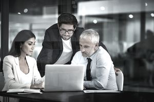 Three employees looking at an email on a company computer