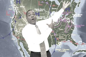 Broadcast meteorologist doing a broadcast