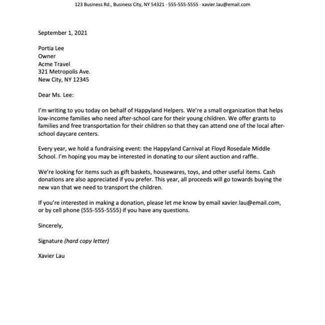 Screenshot of a business letter example