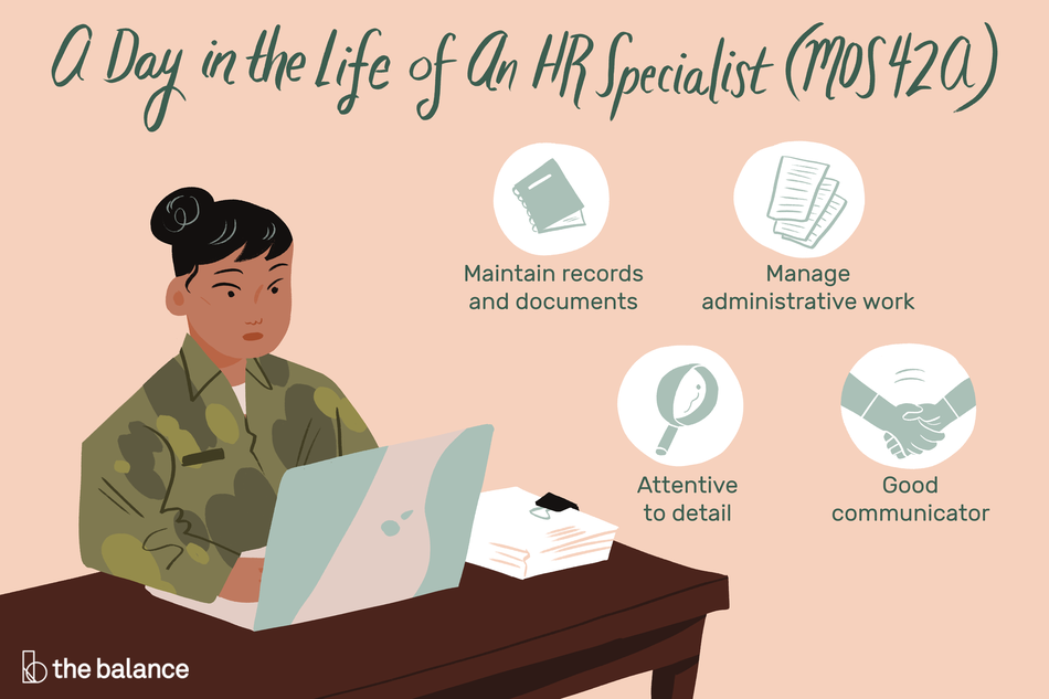 "Image shows a woman in a military uniform sitting at a desk and typing on a laptop. There is a stack of papers beside her. Text reads: ""A day in the life of an HR specialist (MOS42A): Maintain records and documents, manage administrative work, attentive to detail, good communicator"""