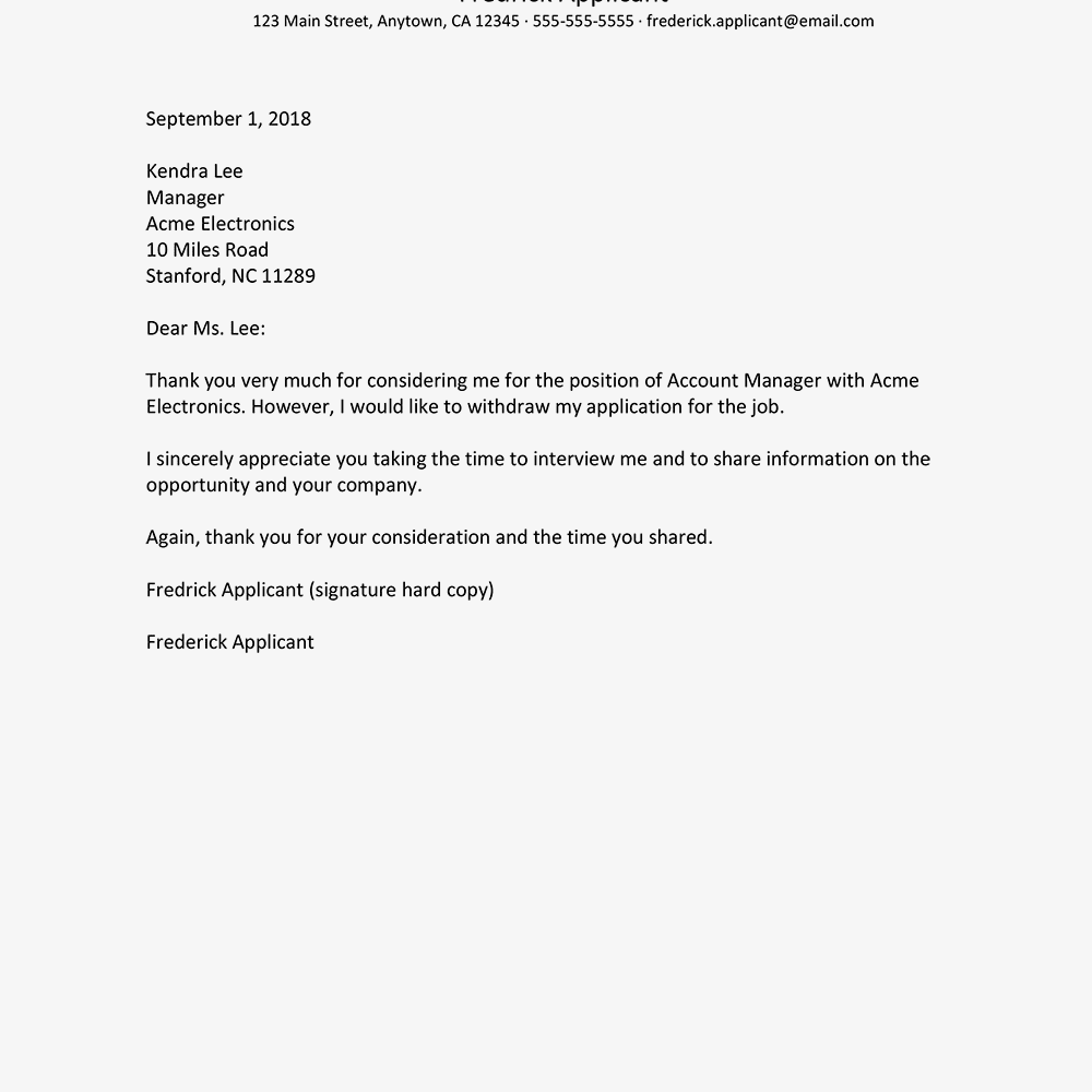 writing a letter of resignation sample letters withdrawing a application 11289