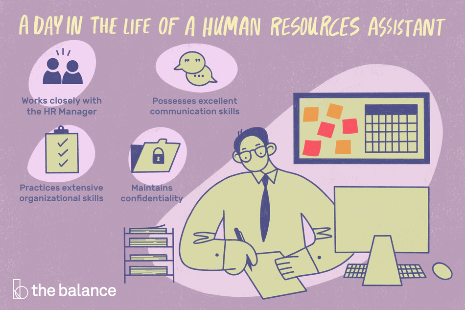 "This illustration shows a day in the life of a human resources assistant including ""Works closely with the HR manager,"" ""Possesses excellent communication skills,"" ""Practices extensive organizational skills,"" and ""Maintains confidentiality."""
