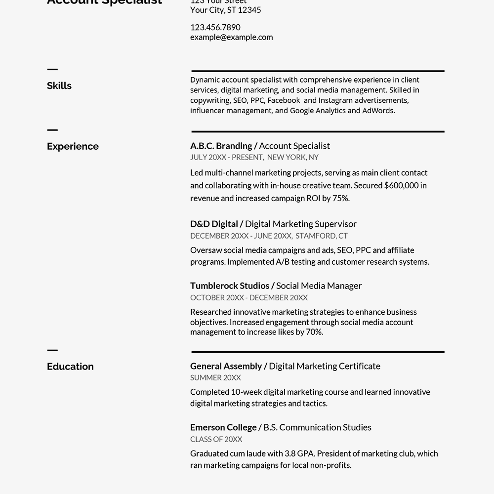 Screenshot Of A Resume Example From Google Docs