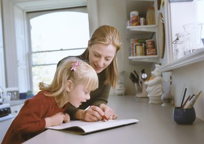 Mom and girl with calendar