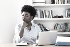 African american businesswoman with depression