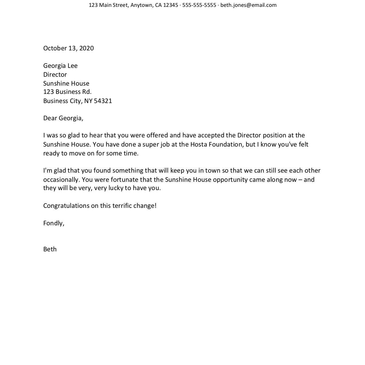 Moving On Congratulations Letter Examples