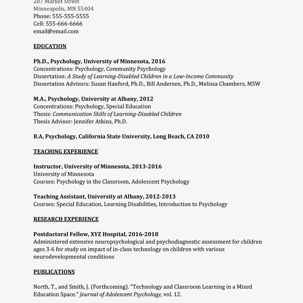screenshot of an academic curriculum vitae cv example
