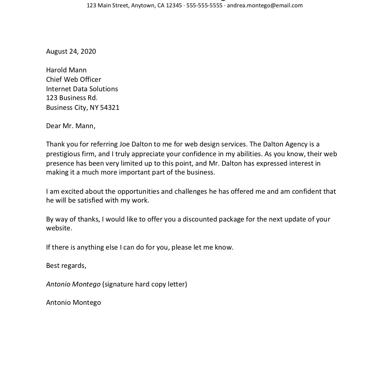 Screenshot of a referral thank you letter example