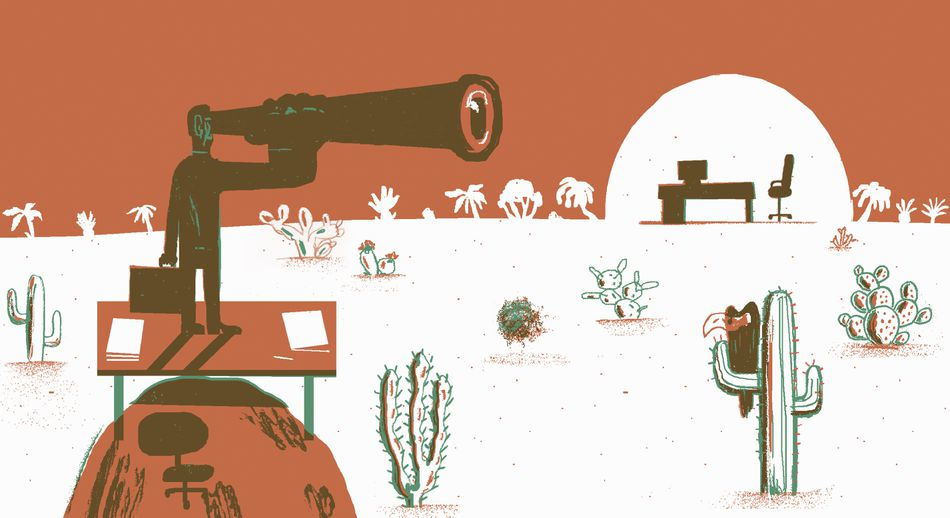 Businessman looking through telescope in desert at new job