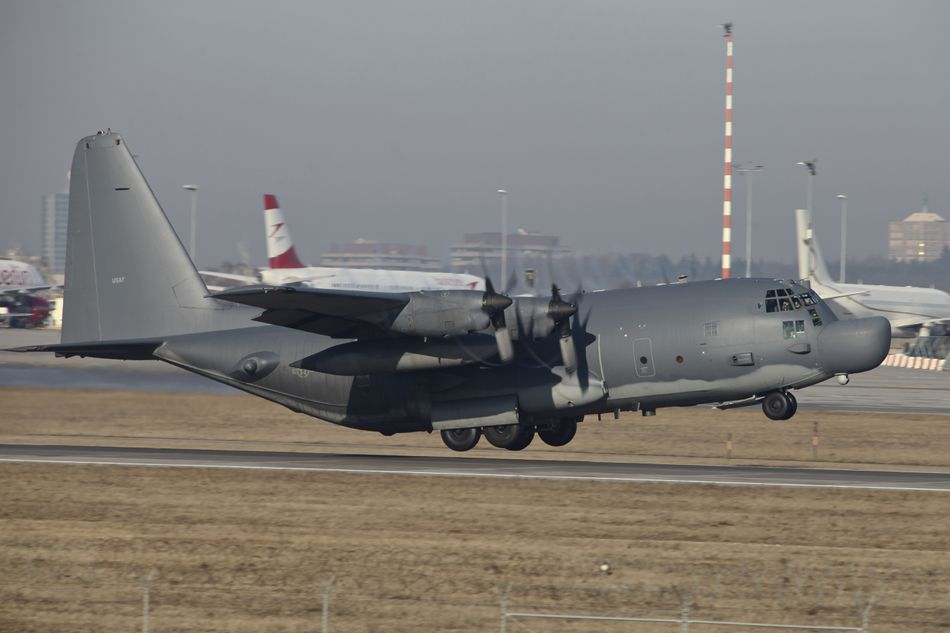 MC-130H Combat Talon II of the U.S. Air Force taking off from Stuttgart Airfield, Germany.