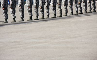 Airmen in Formation at Air Force BMT Honor Graduate Ceremony