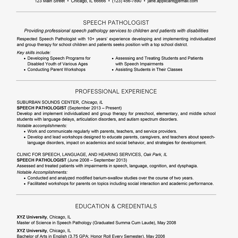 examples of a speech pathologist resume and cover letter