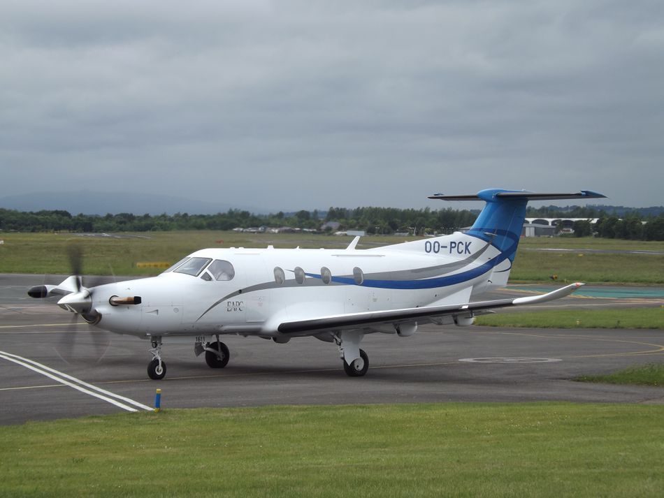 Pilatus PC-12 Aircraft on an airport runway