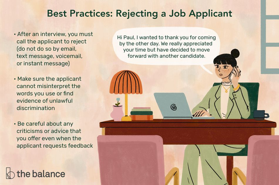 This illustration describes Best Practices for rejecting a job applicant including