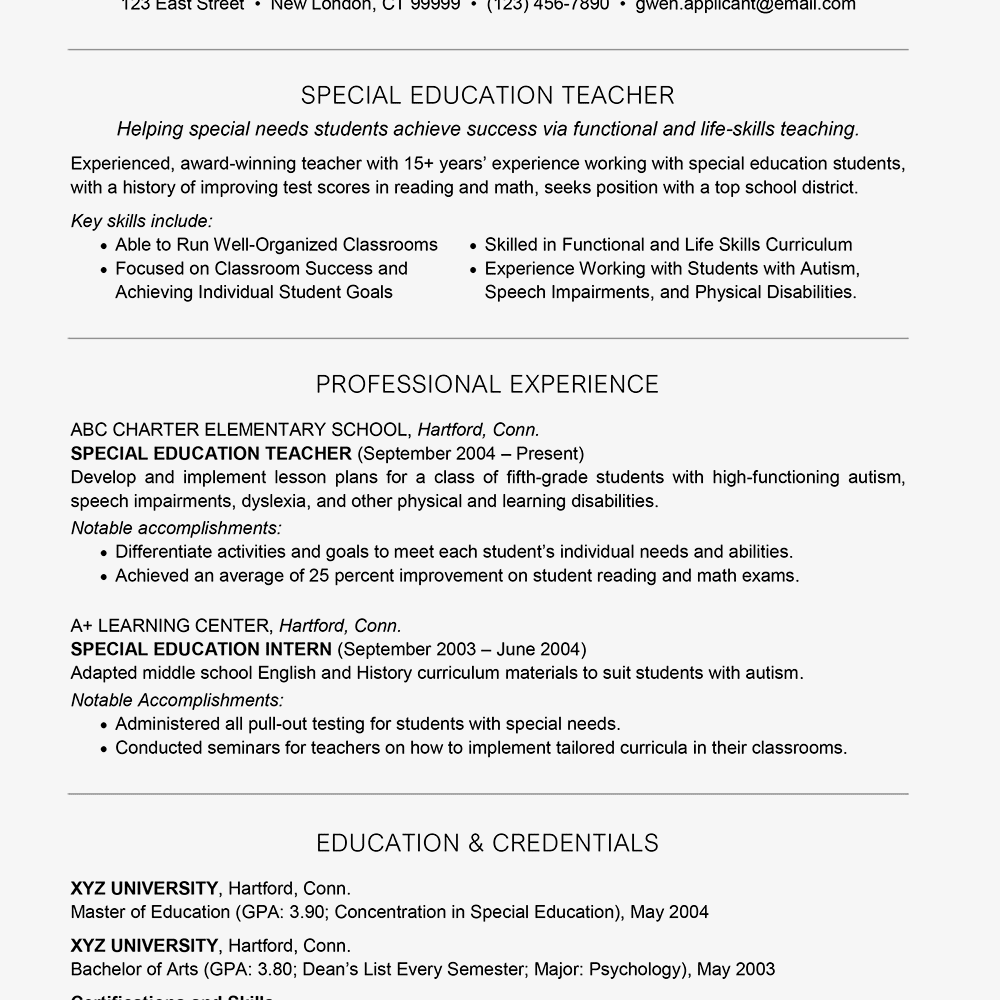 student teacher resume elementary