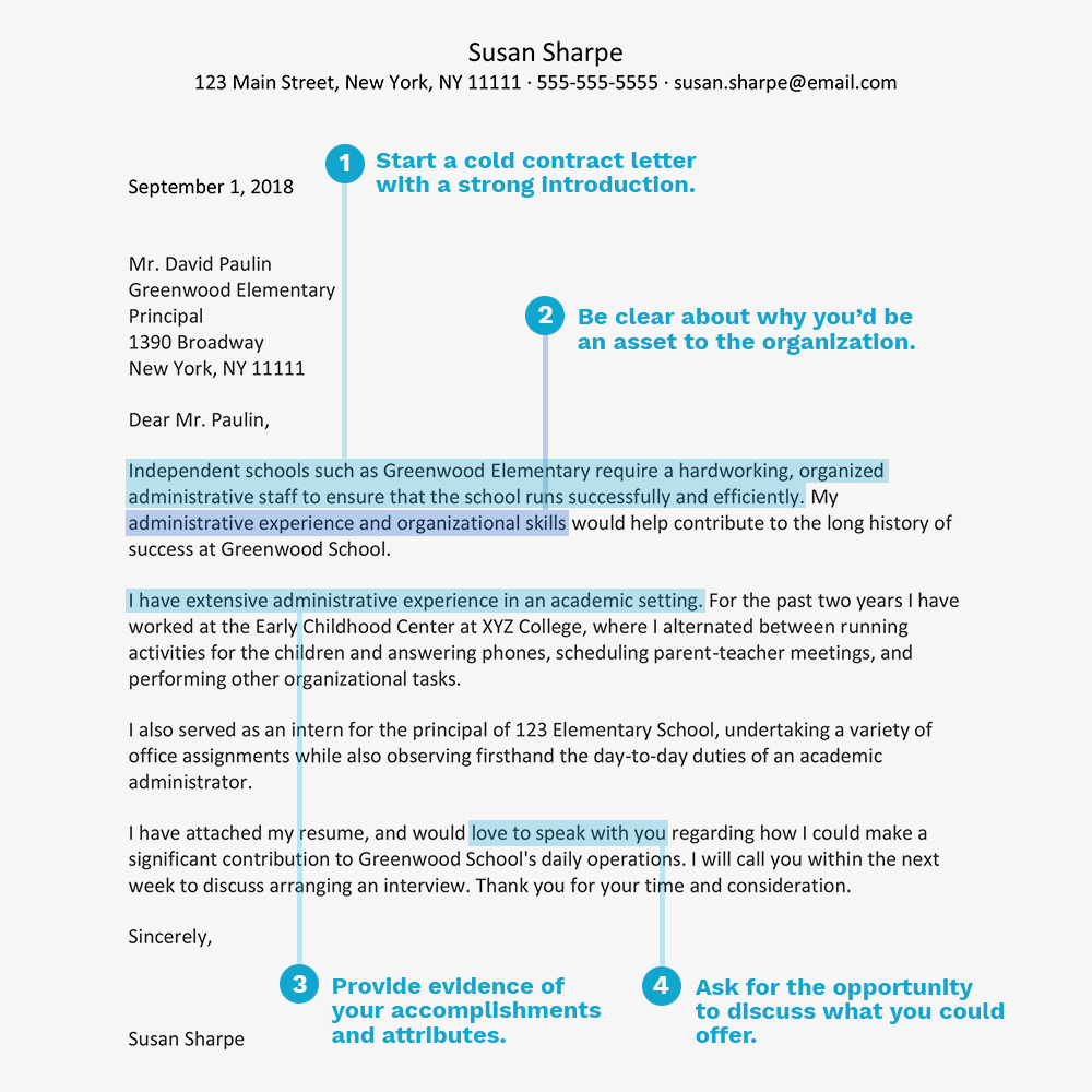 Cold Contact Cover Letter Example Text Version
