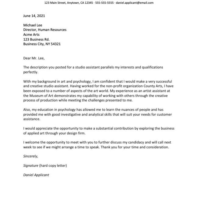 Sample Cover Letter For A Job In The Arts