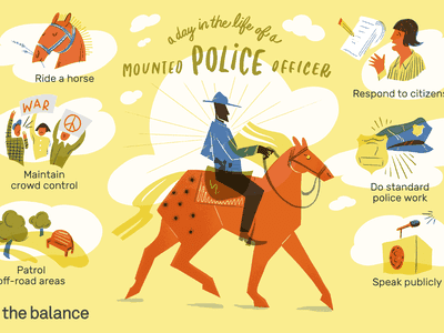 Image shows an officer on a horse riding against a cloudy sky backdrop. Text reads:
