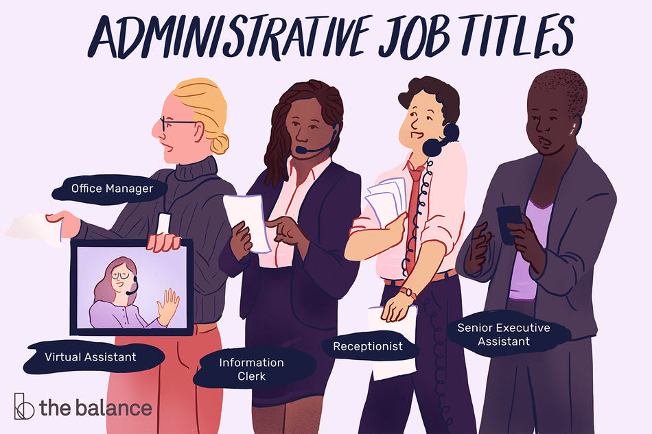 "This illustration shows various administrative job titles including ""Office Manager,"" ""Virtual Assistant,"" ""Information Clerk,"" ""Receptionist,"" and ""Senior Executive Assistant."""