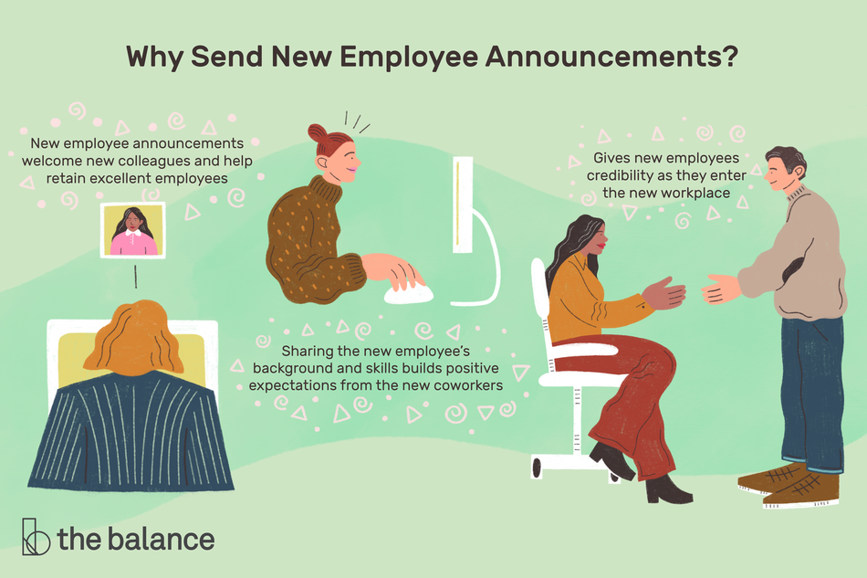 "This illustration answers the question, Why send new employee announcements? Answers include ""New employee announcements welcome new colleagues and help retain excellent employees,"" ""Sharing the new employee's background and skills builds positive expectations from the new coworkers."""