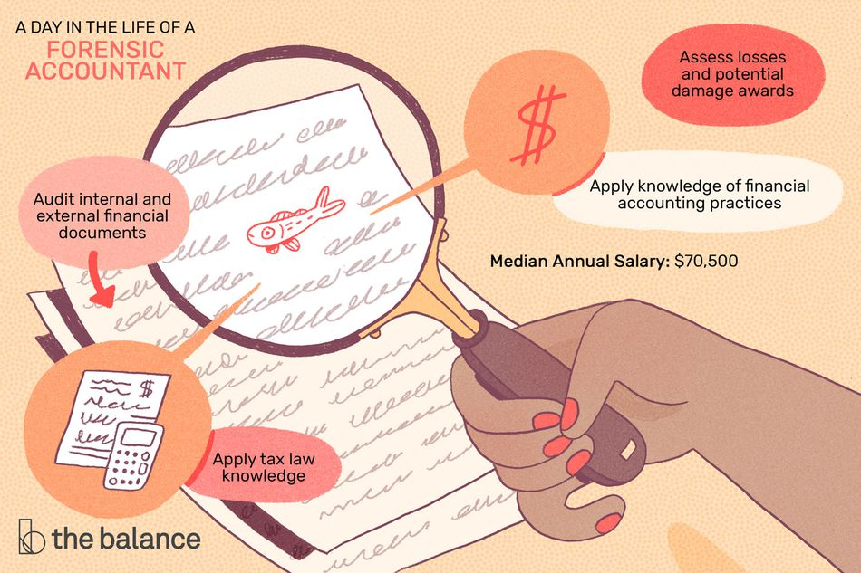 "Image shows a hand holding a magnifying glass over a few documents, highlighting that there's a small fish drawn into the writing. Text reads: ""A day in the life of a forensic accountant: audit internal and external financial documents, apply tax law knowledge, assess losses and potential damage awards, apply knowledge of financial accounting practices, median annual salary: $70,500"""