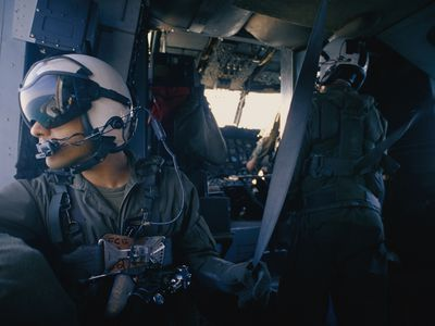 Marines Aboard Helicopter