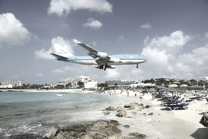 Airplanes landing over Maho beach