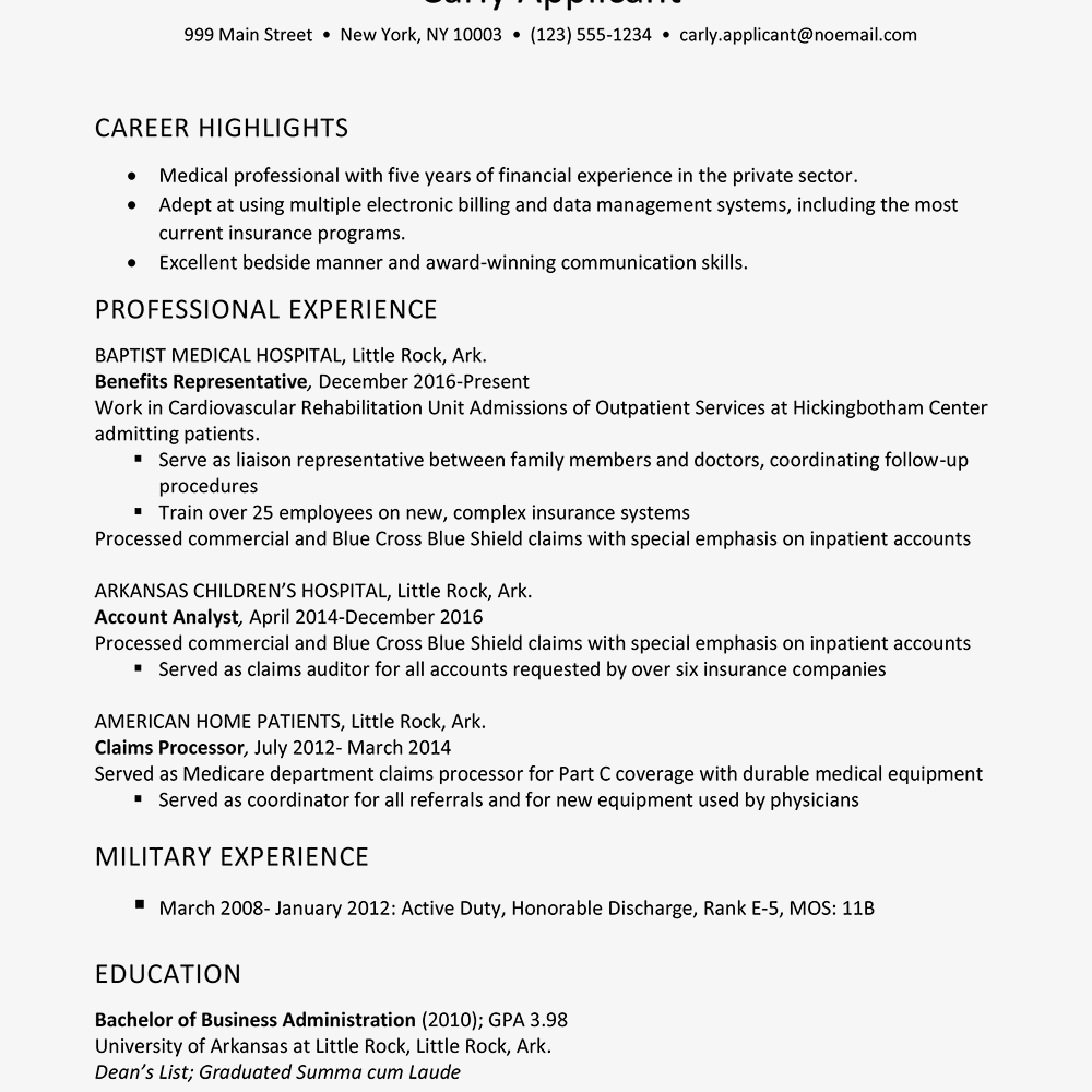Health Insurance Industry Resume Example