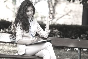 Young woman on bench