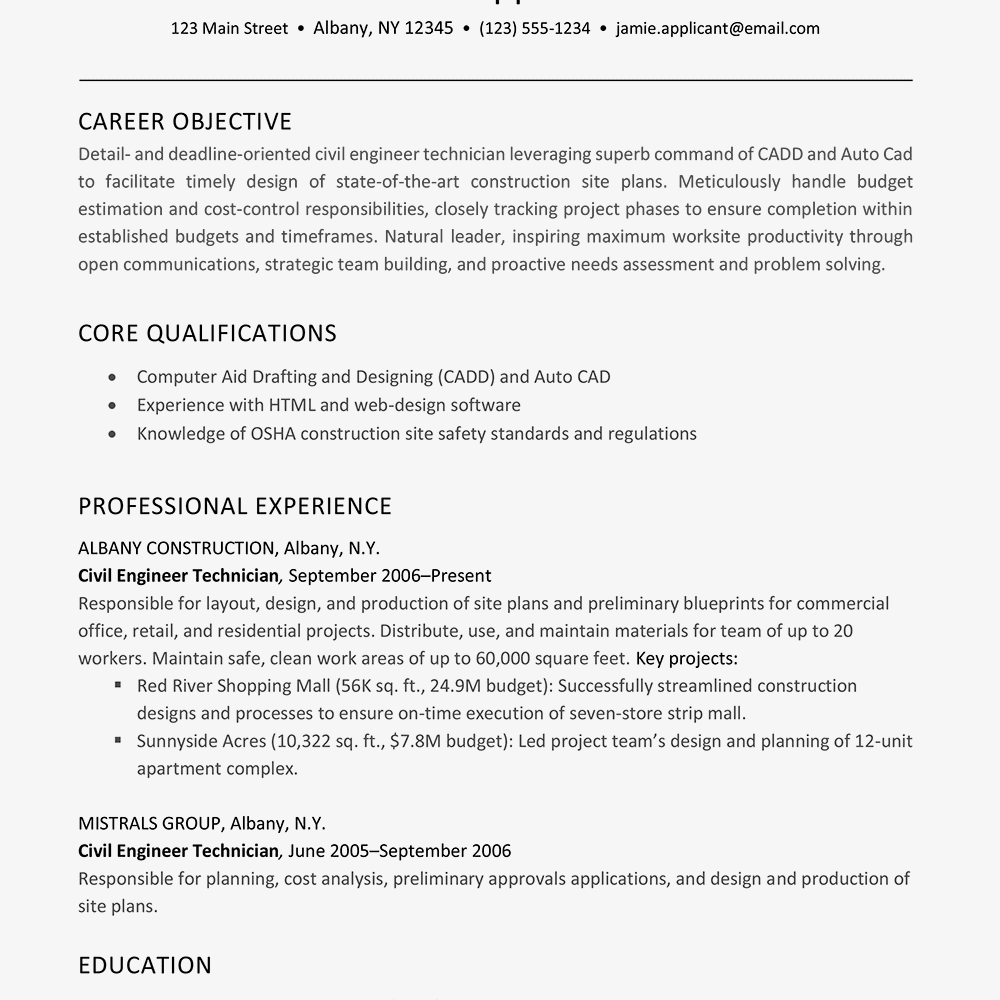 Screenshot Of A Resume Example For Construction Job