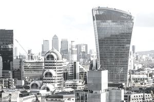 London financial district skyline with City and Canary Wharf skyscrapers, England, UK