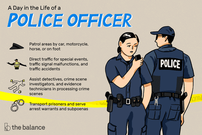 A day in the life of a police officer: Patrol areas by car, motorcycle, horse or on foot; direct traffic for special events, traffic signal malfunctions and traffic accidents; assist detectives, crime scene investigators and evidence technicians in processing crime scenes; transport prisoners and serve arrest warrants and subpoenas